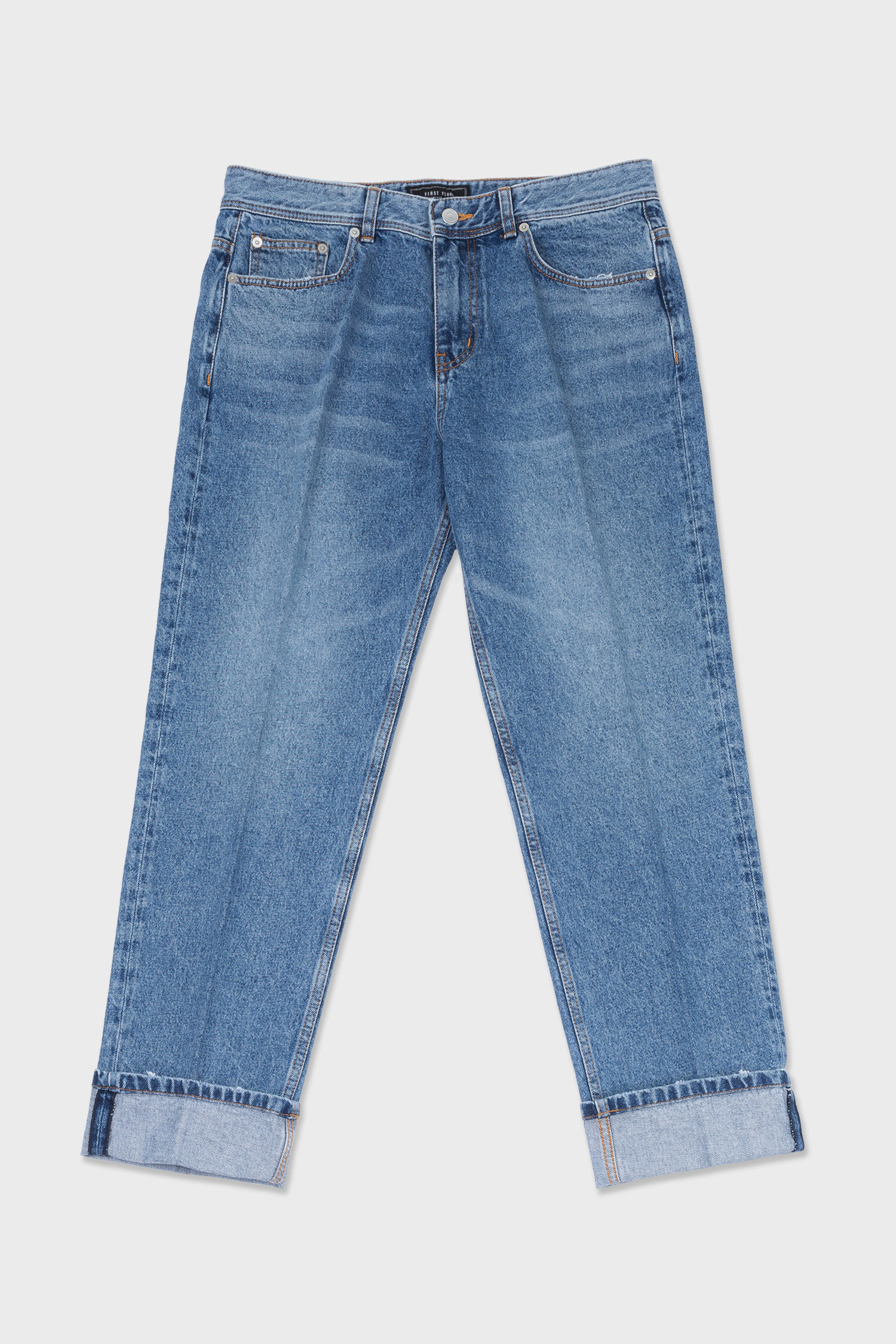 easygoing creased jeans (medium blue)