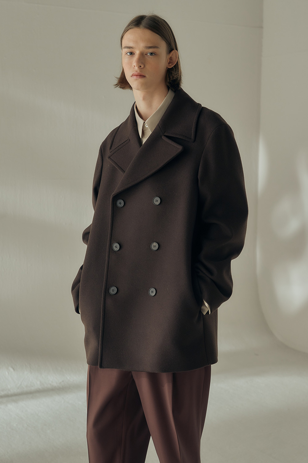 MINIMAL PEA COAT (DARK BROWN,오버핏)