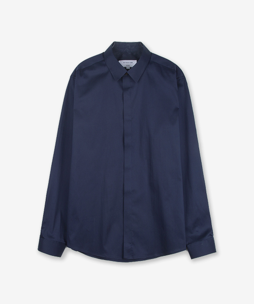 HIDDEN MINIMAL COLLAR SHIRT (stretch, dark navy)