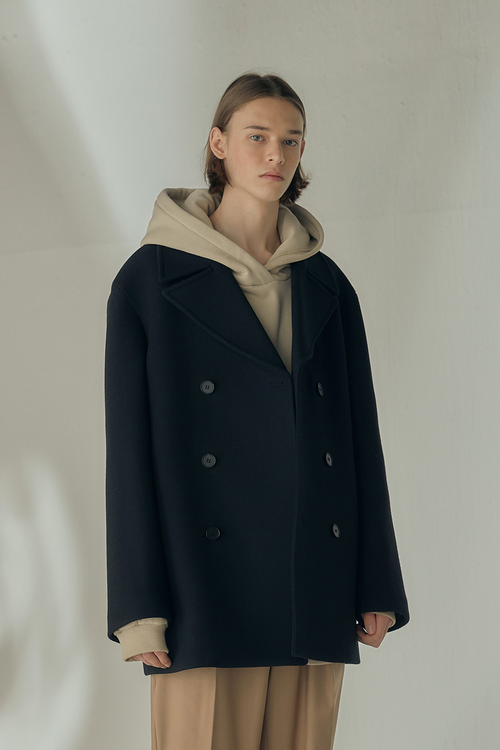 MINIMAL PEA COAT (BLACK,오버핏)