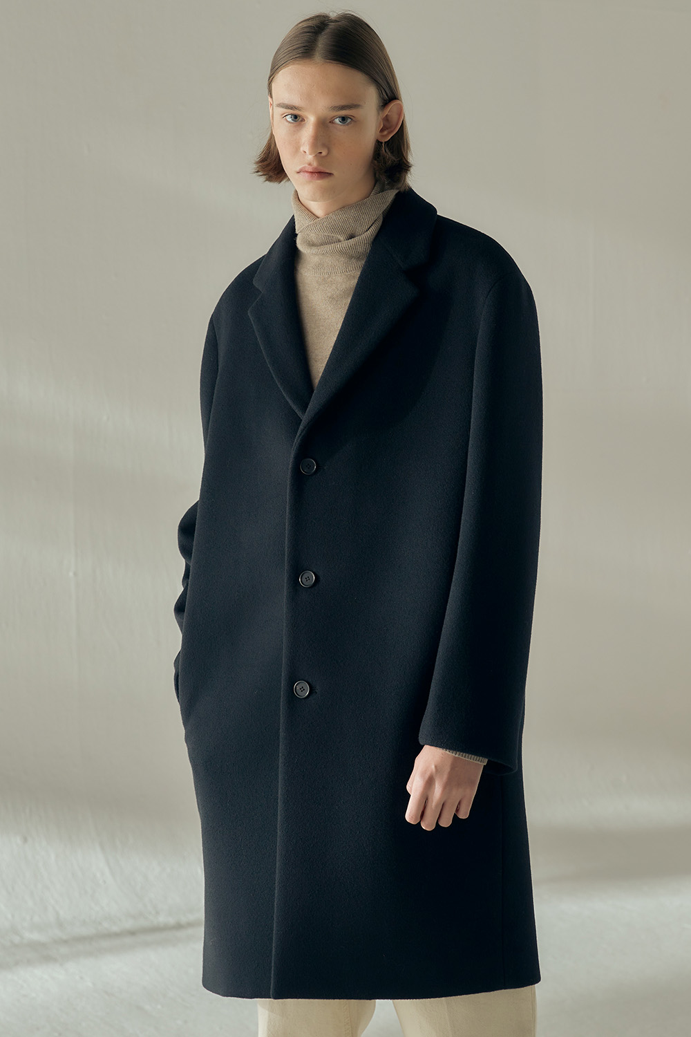 2020 EASY COAT (BLACK, CASHMERE BLENDED)