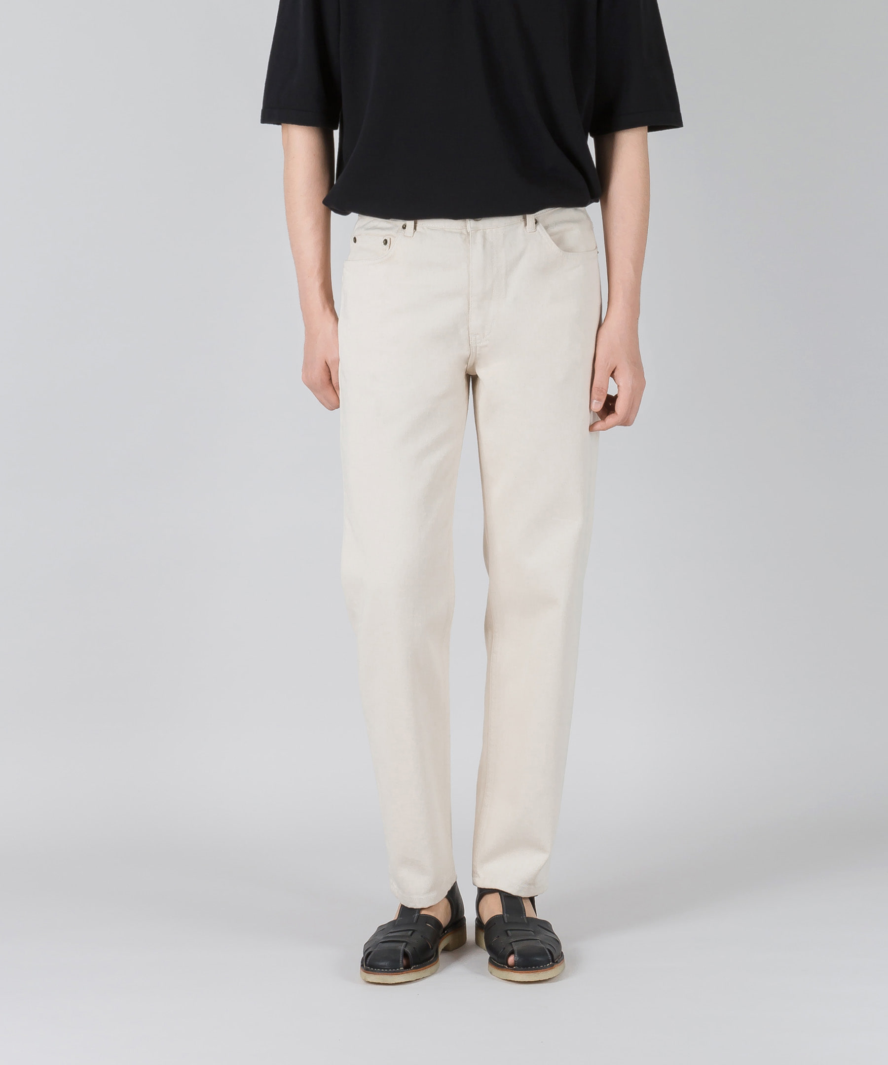 EASYGOING CROP PANTS(regular tapered fit)#7001 cream