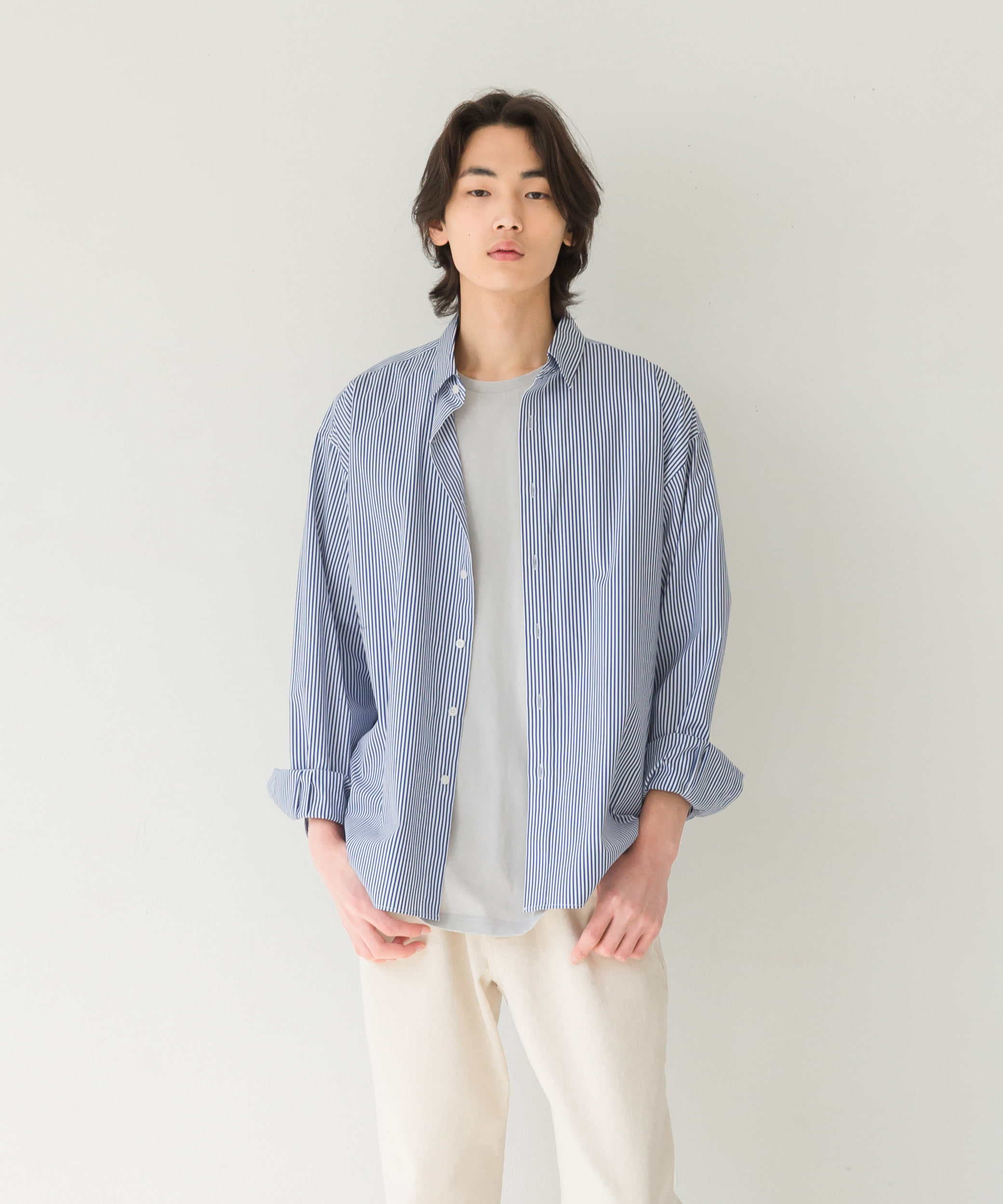 2차 예약발송 5/21STANDARD SHIRT (deep blue stripe, PREMIUM compact yarn 80s/2,relax-fit )